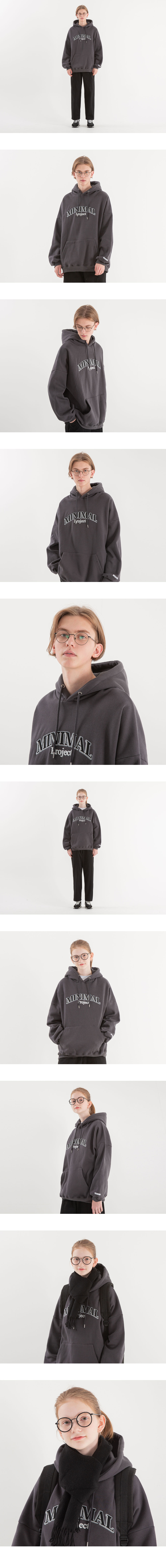 [minimal project] 미니멀프로젝트 쉐도우 자수 오버핏 후드 MHT105 [DARKGREY]