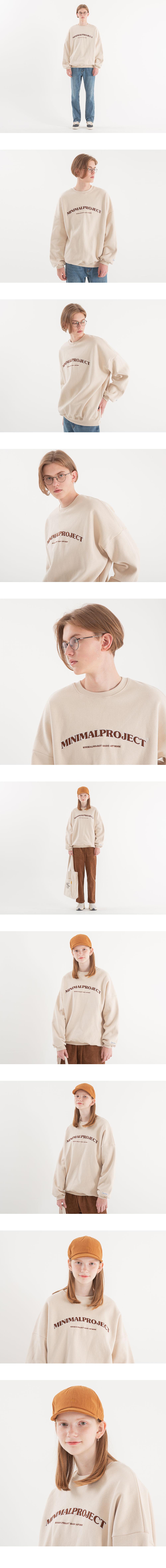 [minimal project] 미니멀프로젝트 아치 자수 오버핏 맨투맨 MMT104 [CREAMBEIGE]