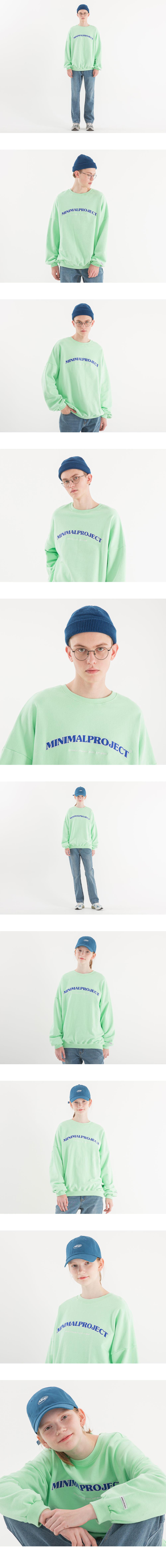 [minimal project] 미니멀프로젝트 아치 자수 오버핏 맨투맨 MMT104 [MELON]