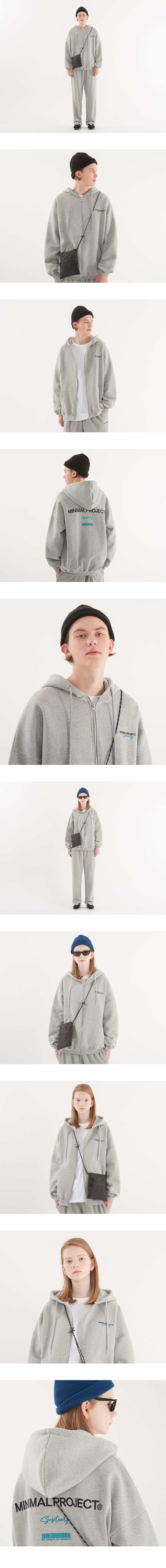 [minimal project] 미니멀프로젝트 바코드 자수 오버핏 후드집업 MZT103 [MELANGE]